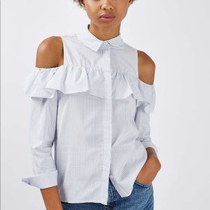 Topshop Blue Striped Cold Shoulder Button Blouse
